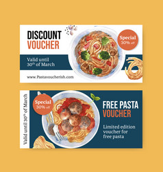 Pasta voucher design with plate broccoli meatball vector