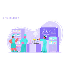 Pharmaceuticals laboratory flat composition vector