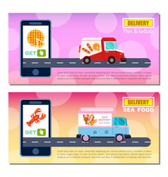 pies kebab and seafood delivery flyers vector image