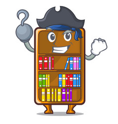 Pirate mascot bookcase beside the study desk vector