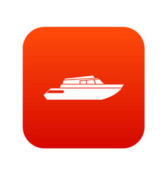 Planing powerboat icon digital red vector