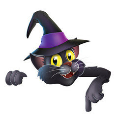 pointing cartoon witchs cat vector image