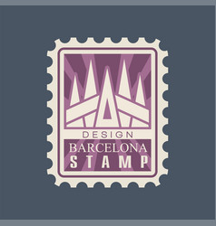 rectangular postage stamp barcelona city vector image