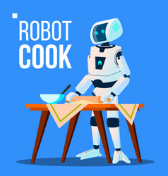 robot cook cooking food isolated vector image