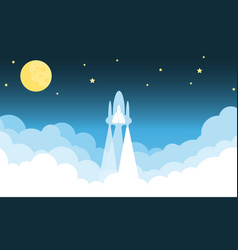 Rocket on sky blue color design illumination vector
