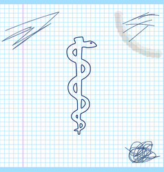 Rod asclepius snake coiled up silhouette line vector