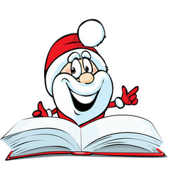 santa claus reading in red book - funny ill vector image