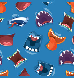 seamless pattern with color cartoon monster mouths vector image