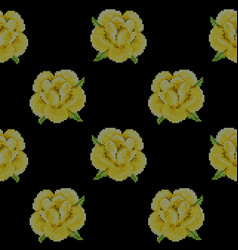 Seamless pattern with cross stitch yellow roses vector