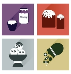 Set flat icons with long shadow sweet vector