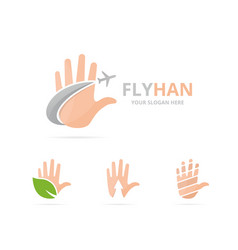 set of hand logo combination arm and travel vector image