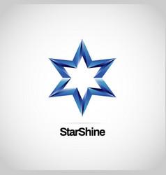 shiny blue star logo symbol icon vector image
