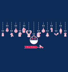 silhouette paper christmas ornaments hanging vector image