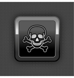 Skull chrome button vector