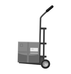 Small truck with box icon gray monochrome style vector