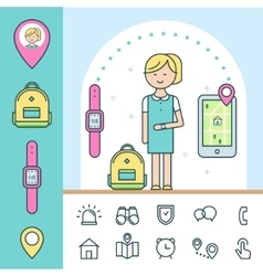 Smart watch and tracker for children infographics vector
