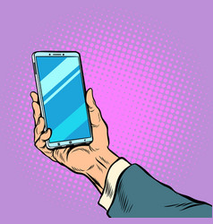 smartphone in male hand selfie vector image