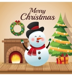 Snowman cartoon of Christmas season design vector image