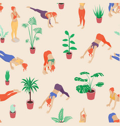 soft colored yoga girls seamless pattern vector image