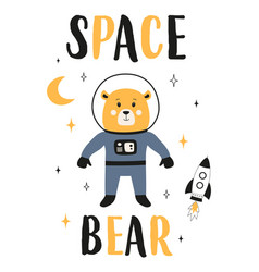 space print with cute bear vector image