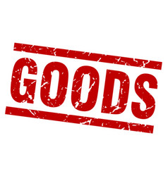 Square grunge red goods stamp vector