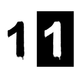 Stencil numeral 1 and drip paint black on white vector