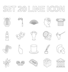 theatrical art outline icons in set collection for vector image