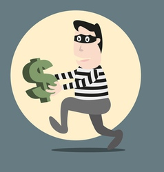 Thief running stealing money vector