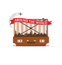Travel symbol with vintage suitcase vector