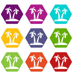 tropical island icons set 9 vector image