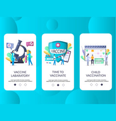 vaccination mobile app onboarding screens vector image