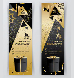 Vertical luxury gold black banners ornamental vector