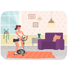 woman doing cycling exercise fit with bike vector image