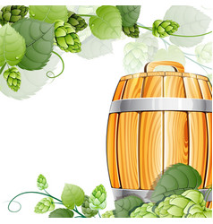 wooden beer barrel and hops on white vector image