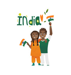Young couple man and woman holding indian flags vector