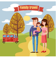 young family with toddler walking in the park vector image