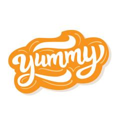 yummy hand written word vector image
