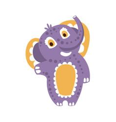 cute cartoon baby elephant character standing vector image vector image