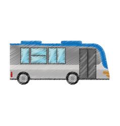 Drawing bus transport urban public vector