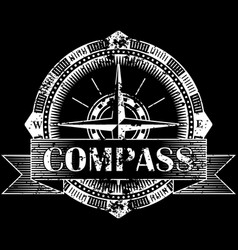 drawing of a compass on a black background vector image vector image