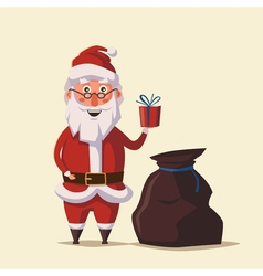 Funny Santa Claus holding gift in hand Cartoon vector image