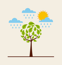 green round tree raining sky sun environment vector image
