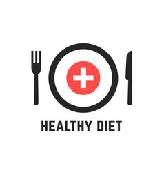 healthy diet with tablewares vector image