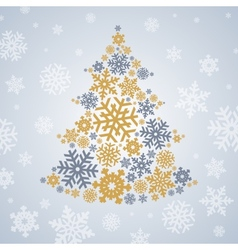 Christmas silver and gold snowflakes tree vector image