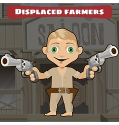 Fictional cartoon character - displaced farmers vector image vector image