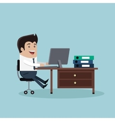 Man Work with Computer vector image vector image