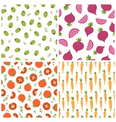 Mixed vegetables seamless patterns set 2 vector image vector image