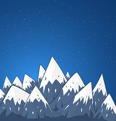 Mountain Landscape with Snow Top and Stars at the vector image