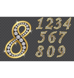 Number set from 1 to 9 golden with diamonds vector image vector image