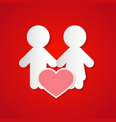 Paper Couple with Heart on Red Background vector image vector image